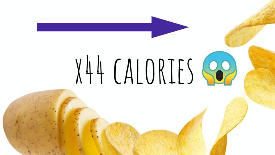 Calories increase from potato to chips
